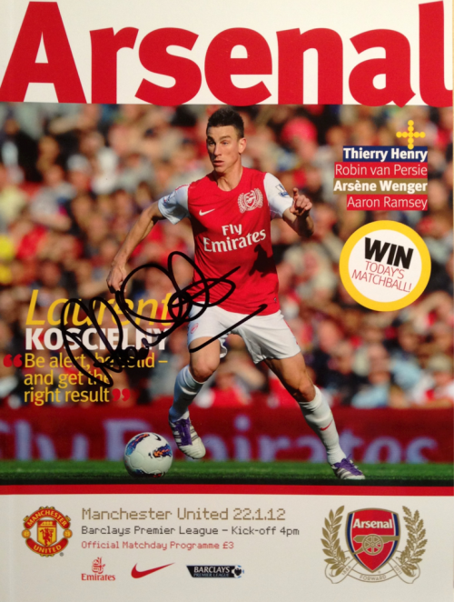 Arsenal vs Manchester United (22 January 2012) Matchday Programme signed by Alan Smith.
