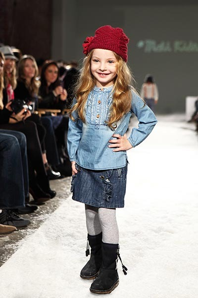 From the Petite Parade/Vogue Bambini Fall 2012 Fashion Show. Mali Kids' soft take on denim.