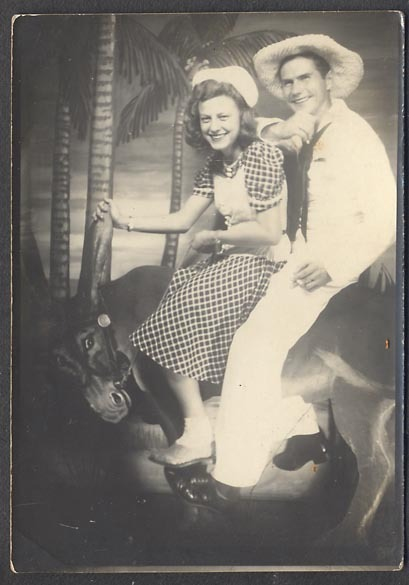 1940s novelty arcade photo - sailor & girl on a mule/donkey