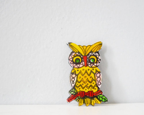 Vintage colorful own pin // http://www.etsy.com/listing/96692898/vintage-owl-pin-enamel-brooch-retro-bold