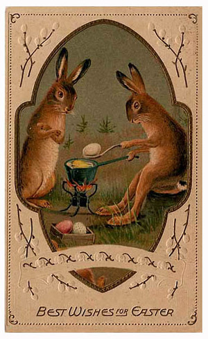 best wishes for easter rabbits enjoying some easter embryos over an open fire