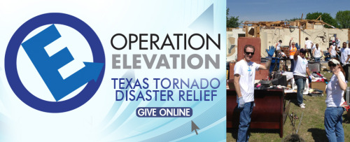 "On Tuesday, April 10, 2012, our Rapid Response Teams are continuing to reach out to the communities and families impacted by the recent Texas Tornadoes! ""We are committed to deploying our Rapid Response Teams to serve Texas Tornado Disaster victims – and will continue to do so, as long as the need exists,"" said Keith Craft, Senior Pastor. If you would like to serve on Tuesday, April 10, please CLICK HERE to register. Here are the details: 8:00am – Meet at Elevate Life Church in Conference Room A – you will receive information on how the day will unfold, receive answers to your questions, pray with the team, and then depart. 8:20am – Depart for disaster site. Maps and directions will be provided prior to departure. 5:00pm – Leave disaster site and head back. (If you cannot stay the entire day, you may depart earlier – just be sure to drive your car to the site.) You should wear jeans and comfortable, closed-toe shoes (no flip flops or sandals). Bring gloves if you have them. Food and drinks will be provided. ====================================================== How you can help? You can make an online donation to Operation Elevation, a 501(c)(3) non-profit organization whose goal is to meet benevolent needs both locally and worldwide – including helping families and communities having faced major catastrophic events. Operation Elevation relies on corporate and individual donations, as well as major fundraisers, to fulfill this mission. Go to Relief.Elevatelife.Com to Give Online"