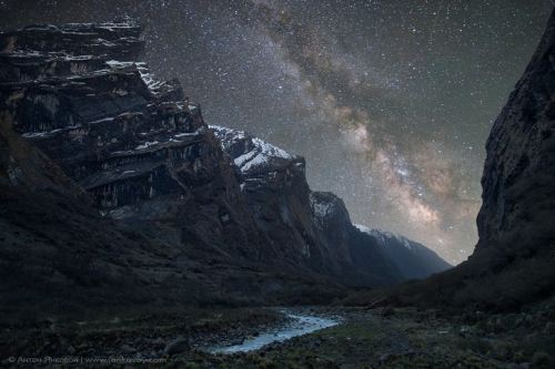 Milky Way above Mardi Khola Valley, The Himalayas, Nepal.