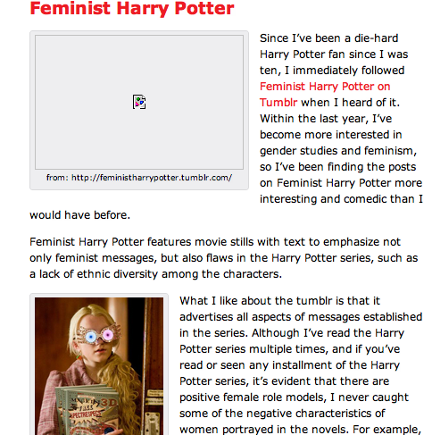 Emily Thorp writes about Feminist Harry Potter in The FBomb!