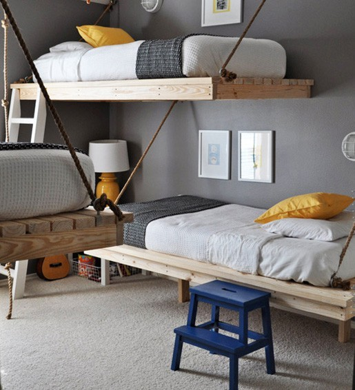 clever bunkbed kids room interior