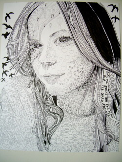 Self Portrait assignment for 2D made with hundreds of tiny symbols. This took forever!