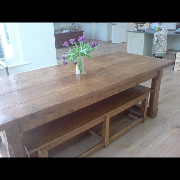 Oak refectory table and benches hand made in our workshop in Sussex  (Taken with instagram)