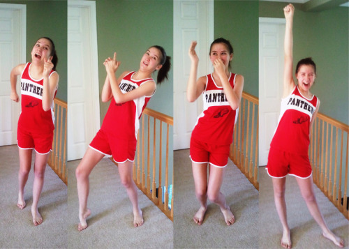omg. My little sister SYDNEY IS A PANTHER LION!!! (Here she is modeling her new uniform. Turns out she's the fastest girl on the distance team and there is only ONE boy faster than her. She plans to pat dude on the back before she passes him by this year.) Loves. #SuperTeam #FNL