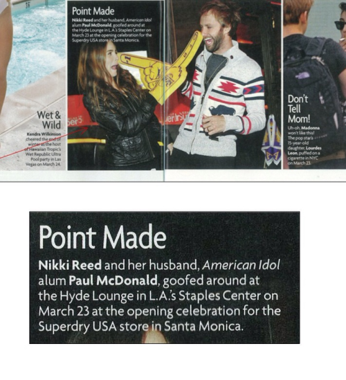 Check out Nikki Reed and Paul McDonald wearing Superdry at the LA Staple Center opening of a new Superdry store, in Santa Monica  Twitter: Krystal_peal