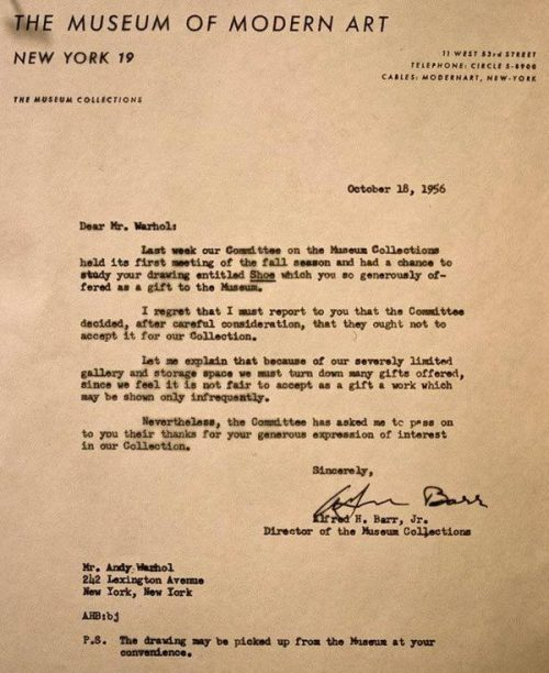 Rejection letter to Andy Warhol from the Museum of Modern Art.  Lesson learned?  Keep making art.