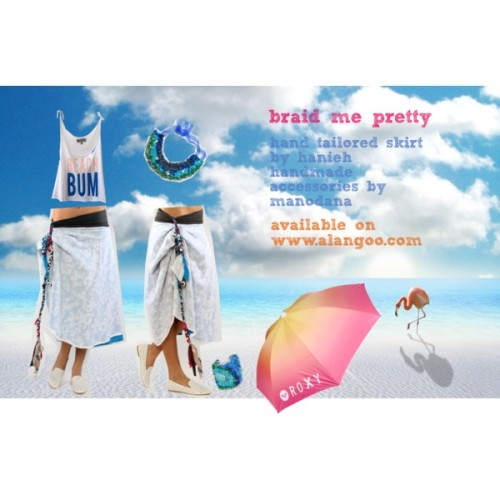 Braid me pretty by alangoo featuring a beach umbrella  Wildfox Couture beach shirt, $55Skirt, $60Skirt, $60Roxy beach umbrella, $44ALANGOO-Cote d'Azure, $80Blue Lack Wristband, $56  Available on ALANGOO.com, Bringing Underground Fashion Online.