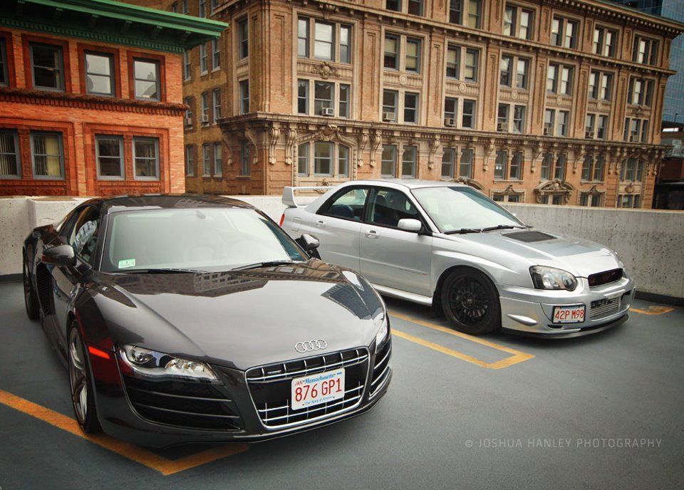 Josh Hanley took a great shot of my boy's R8 and my STi at the MassTuning Boston meet and greet.