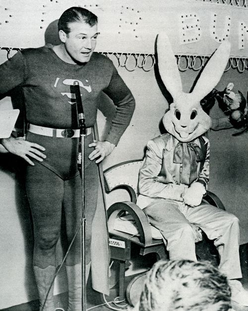 maudelynn:  Happy Easter from Superman (George Reeves) and the Easter Bunny!