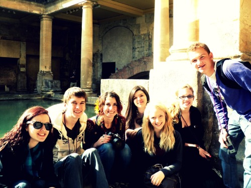 (I just really love this picture of my friends and I) Roman Baths, Bath From my choir trip to Europe