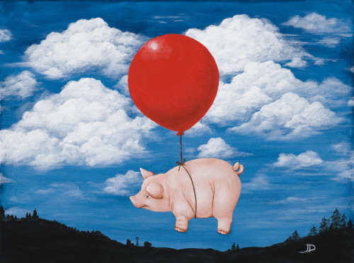 "Flying Pig 16""x12"" acrylic on canvas This little piggy dreamed of leaving the farm and heading to the city. Gives new meaning to the phrase, ""when pigs fly."" 8""x10"" print available here."