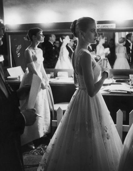 Audrey Hepburn and Grace Kelly backstage at the Academy Awards