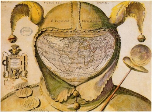 "mazarinette:  World Map in a Fool's Head c. 1590 ""This image is one of the enigmas of cartographic history. The artist, date and place of publication are all unknown. The geography of the map strongly resembles that of the world maps of Ortelius published in the 1580s, giving a tentative date of c.1590.""Its central visual metaphor is the universality of human folly and various mottoes around the map reinforce that theme. The panel of the left says: ""Democritus laughed at it, Heraclitus wept over it, Epichtonius Cosmopolites portrayed it.""""Although Epichtonius Cosmopolites appears to be the author's or artist's name, it translates roughly as ""Everyman,"" leaving the mapmaker's true identity hidden.""- The Image of the World: 20 Centuries of World Maps (Peter Whitfield)"
