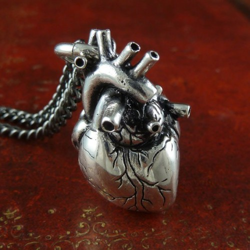 shanalogic:  Anatomical Heart Necklace  Someone buy me this please! I like this much better than the cliche heart shape! Very beautiful in an honest way…