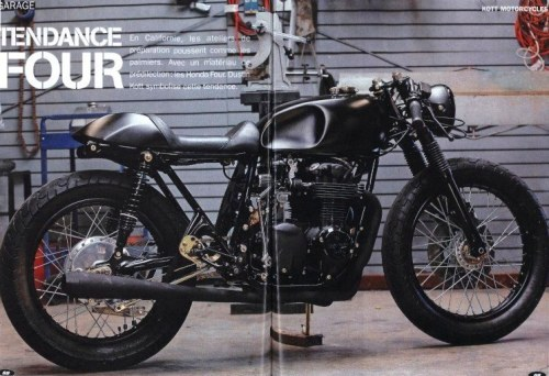 A beautiful murdered out Honda CB550 by Kott Motorcycles. Stealthy. I like it as it is, but what would you do different?