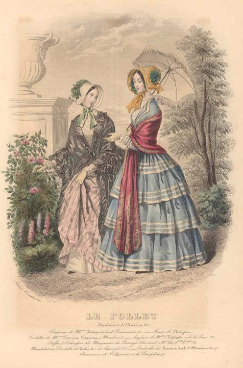 historicalfashion:  Le Follet, 1846  Oh…that blue gown!  So pretty!