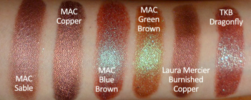 makeupbox:  Fun Brown Shadows —- If you think browns are boring, I'm here to tell you they can be some of the most interesting colors around. Here are some of my favorites! MAC Sable - Rich rust-brown with a soft pink sheen MAC Copper - Dark super-rich metallic copper-brown pigment  MAC Blue Brown - Many brands have a duo-chrome brown like this. It's a red brown with an aqua blue sheen. Urban Decay, Too Faced, and Lime Crime have similar versions. MAC Green Brown - This is a less red version of Blue Brown but with a green sheen. This isn't quite as common a shade as Blue Brown. Laura Mercier Burnished Copper - This Metallic Creme Eye Color is wonderfully rich and beautiful. The color is similar to MAC Copper Metal pigment but it's a cream base so you can layer other browns over it for an uber-rich effect. TKB Nosy-Be Chameleon (wrong name listed in image) - This is a sparkly red brown with sparkly blue bits. It's not truly a duochrome pigment the way Blue Brown is, but more flecks of brown mica with aqua sparks.