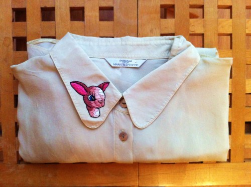 Lovely Bambino Collar: Pink Hand stitch on vintage silk cupro blouse