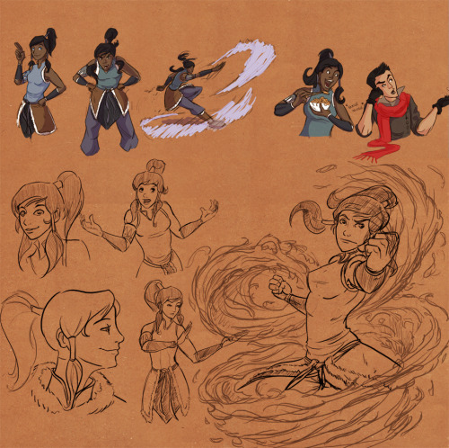 More Korra sketches! (And the ones from the last post, sorry if you've seen those already >.>) I think I'm gonna do that one in the right up into a finished piece, I can't believe I actually made some awesome looking fire effects! :D