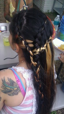 I dont know what to call this?:p Its two inverted braids and a waterfall braid and then theyre all connected into one regular braid… Lol thats a mouth full :D