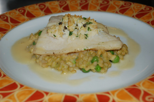 Easter Brunch Menu Item: Crab Stuffed Sole with sweet pea barley risotto and lemon beurre blanc