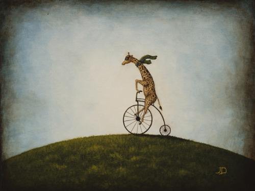 "Penny Farthing 16""x12"" acrylic on canvas An adventurous giraffe sporting aviator goggles and scarf, riding an old-fashioned high-wheeler bicycle through the countryside. A series of glazing and staining techniques gives the painting the distressed, vignette look of a vintage photograph. 8""x10"" print available here."