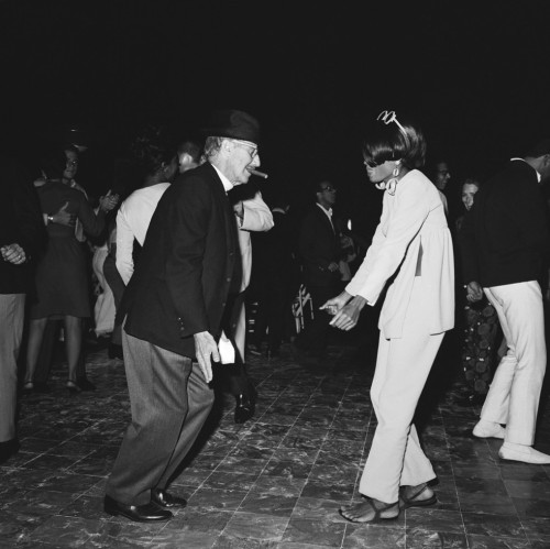 awesomepeoplehangingouttogether:  Groucho Marx (70) and Diana Ross (22), 1966  A 22-year-old Diana Ross and 70-year-old Groucho Marx on the dance floor doing the frug at a barbecue at Bobby Darin's house in Bel-Air on August 19, 1966. Photo: AP.