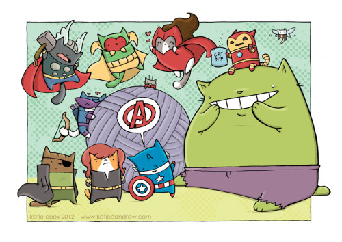 clandestinecritic:  This is Cat Avengers by Katie Cook and it is adorable [via io9.com].