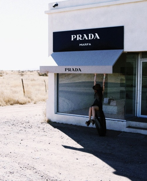 moldavia:  Pamela Love in front of Prada Marfa by Skye Parrott