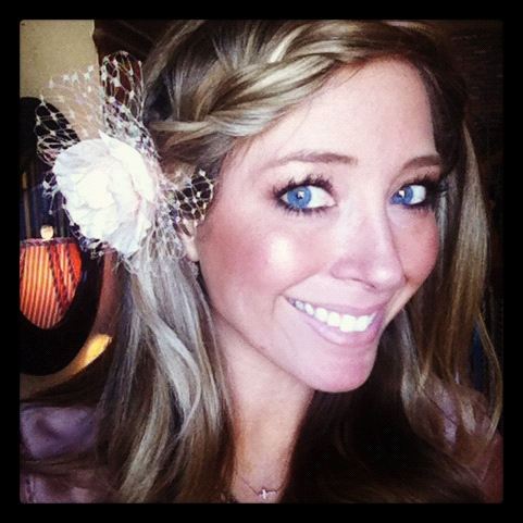 Wrap around headband braid and flower for my Easter hairdo!