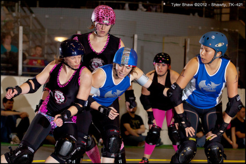 CCRG-20120128-053.jpg by gli_vr6 on Flickr.Junkyard Dolls [in pink] Free Radical and Quickshot Kitty vs. Night Terrors IM Pain and Radar Love. Aidee Dee in the background.