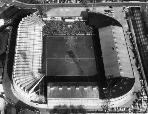 thefootballarchivist:  1966: An aerial shot of Old Trafford, home ground to Manchester United and one of the venues used for the '66 World Cup finals in England.