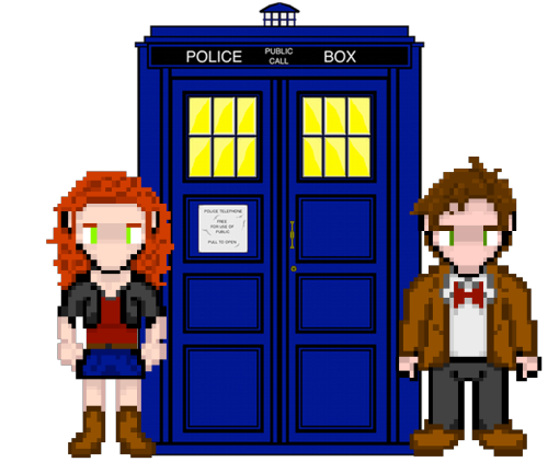 it8bit:  Amy & Doctor Who with the TARDIS  Created & submitted by Silver Hammer Art Check out the making of here