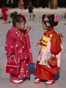 Lovely Kimono dressed little girls, Japanese Festival
