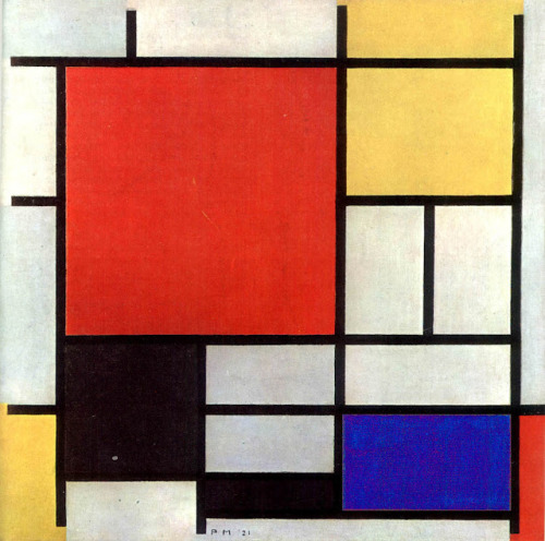 "Piet Mondrian, ""Composition with red, yellow, blue and black"", 1921."