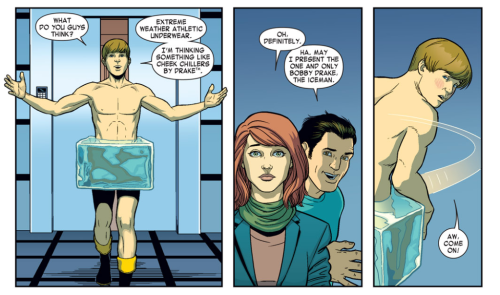 From X-Men: Season One by Dennis Hopeless and Jamie McKelvie Cheek chillers by Drake! McKelvie sure does draw an adorable Bobby. (Next page in my next Season One post…)