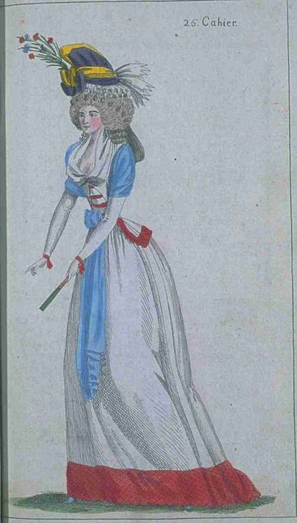 Journal de la Mode et du Gout, November 1790.  Pretty girl!