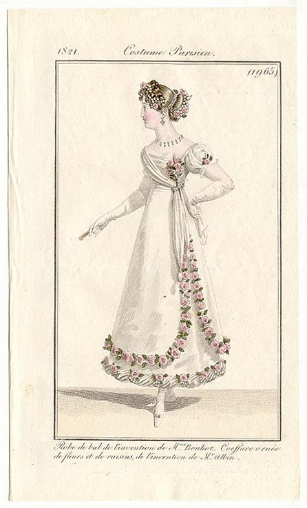 Journal des Dames et des Modes, 1821.  One of the best uses of flowers to ever grace the pages of this blog!