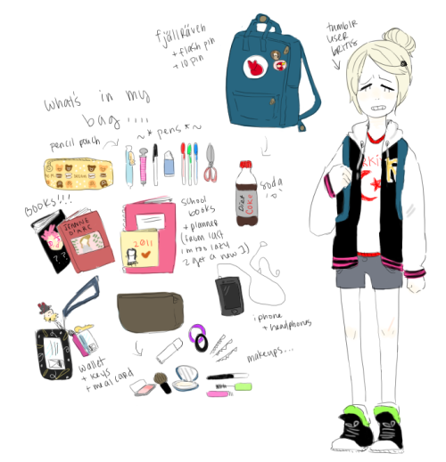 "i was rly bored…, so i redrew a whats in my bag i did on drawr a while ago… its my school backpack… since i usually just carry my wallet when not in school"", but yeah"""" rly boring"