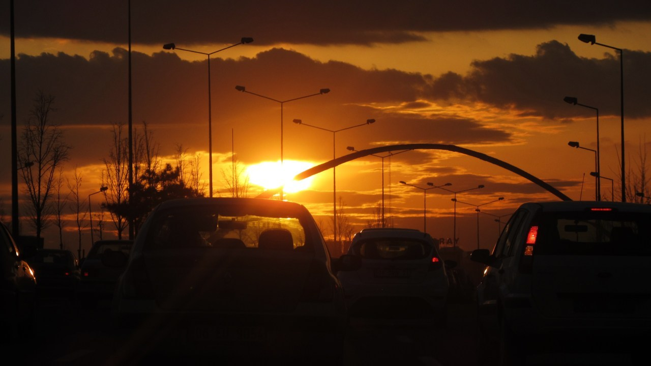 Say hi to the sunset on Ankara-Istanbul Highway (Turkey).