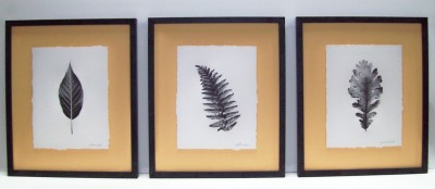 This set of three framed black and white ferns floating on a yellow background would look great on the wall over the bed or sofa.