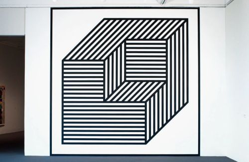 "cavetocanvas:  Sol Lewitt, Wall Drawing #356 BB, Isometric figure within which are 3"" (7.5 cm) wide black lines in three directions. (Cube without a cube), 2003"