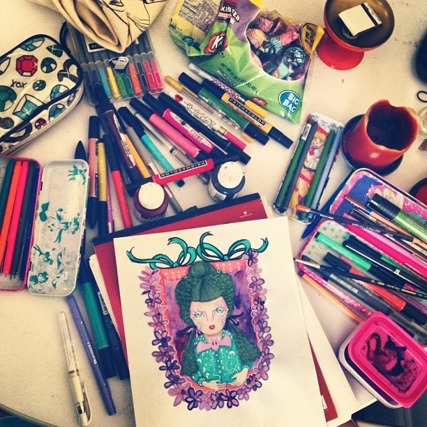 fluorescent:  My life. Drawing, painting, candy-eating. I've been practicing watercolor a lot lately. (Taken with Instagram at Home Sweet Home)  Flashback from just over a year ago.