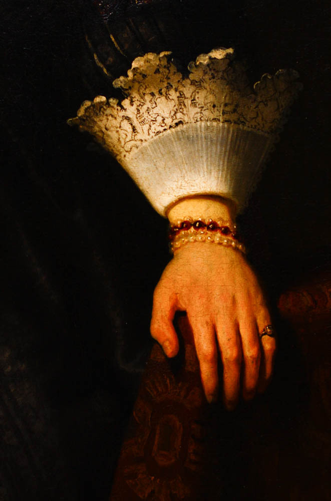 Portrait of a Young Woman with a Fan (1633), detail, by Rembrandt
