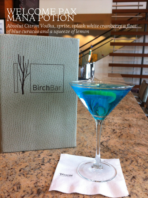 Birch Bar, located in the Westin Boston Waterfront hotel, created a Mana Potion cocktail specifically for PAX East this weekend.  The cocktail is a blend of Absolut Citron Vodka, Sprite, a splash of white cranberry juice, a float of blue curacao, and a squeeze of lemon. (via @WestinWatrFront)