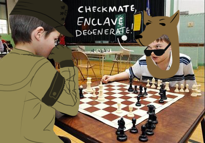 wastelandlogic:  Hey Eden, look! I am beating your officers at chess. >B)